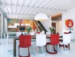 鲜艳的颜色和画廊般的空间:个性时尚的Loft设计