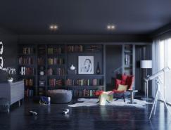 家装欣赏:温暖的读书之角