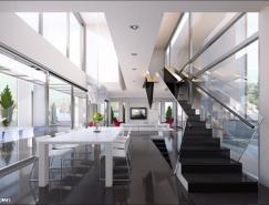 白色基調的餐廳設計