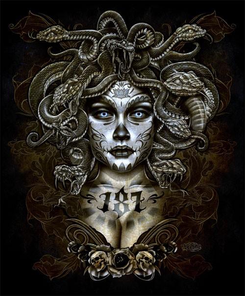 希腊神话人物插画 魔女美杜沙 medusa图片