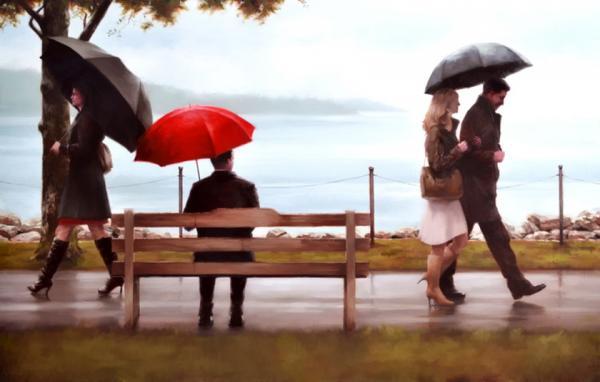 爱的红雨伞:DanielDelOrfano绘画作品欣赏