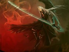 最终幻想7角色插画:萨菲罗斯(Sephiroth)