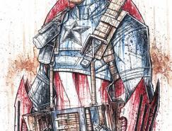 RobDuenas水彩风格的超级英雄人物插画