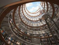 效果图欣赏:优雅的图书室设计