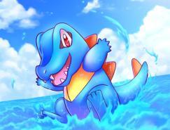口袋妖怪角色插画:小鳄鱼(Totodile)