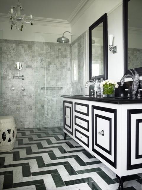 黑白色调浴室设计欣赏