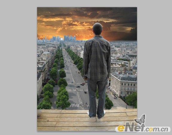 PS合成高楼中远眺城市日出场景
