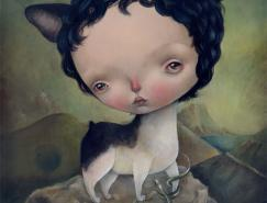 意大利插画师DilkaBear的大头小女孩