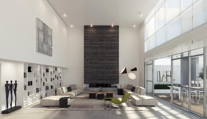 挑高天花板的室内装修设计