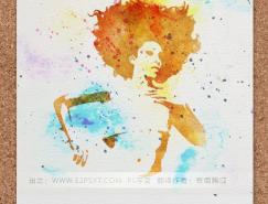 利用PS滤镜及素材把人物转为个性的水彩画