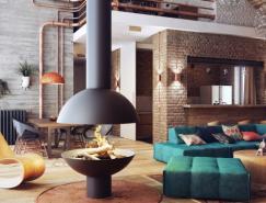 砖墙和管道:工业Loft开放式空间设计