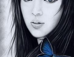波兰Justine肖像素描画