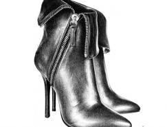 T.SAbe鞋子系列铅笔画作品