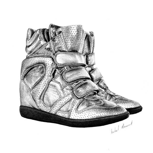 abe鞋子系列铅笔画作品
