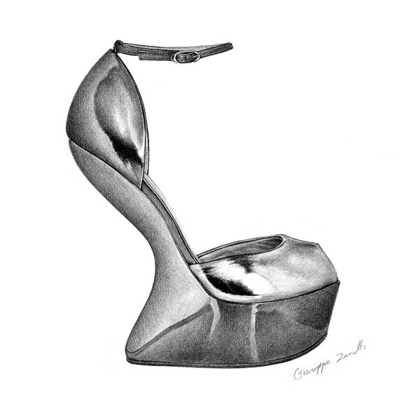 t.s abe鞋子系列铅笔画作品图片