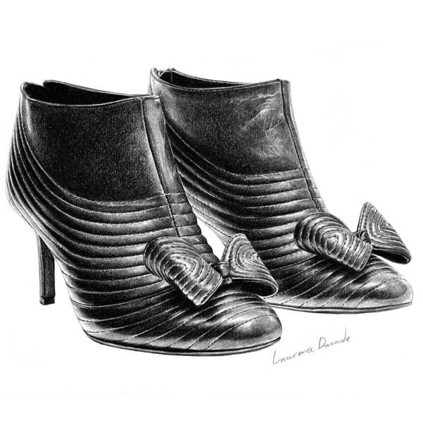 t.s abe鞋子系列铅笔画作品