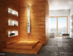 现代时尚的豪华浴室效果图欣