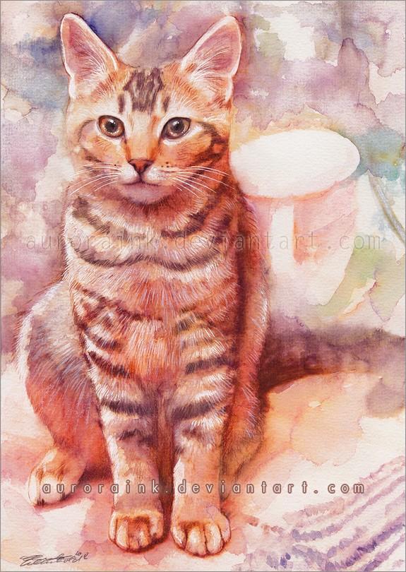 德国水彩画家charlene wienhold:可爱的猫