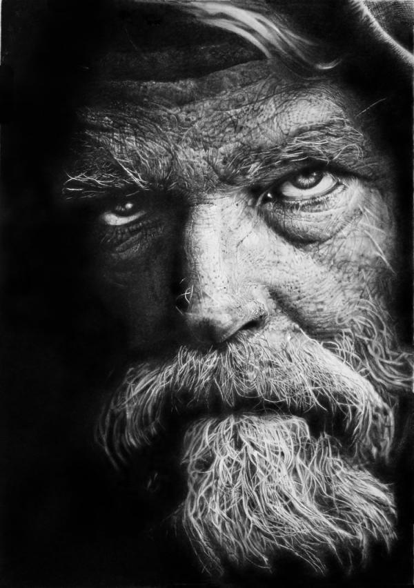 30张逼真的人物肖像素描画