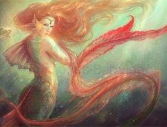 曼妙多姿的美人鱼插画欣赏