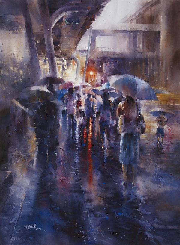 资讯_朦胧的城市雨景:台湾林经哲水彩画作品 - 设计之家