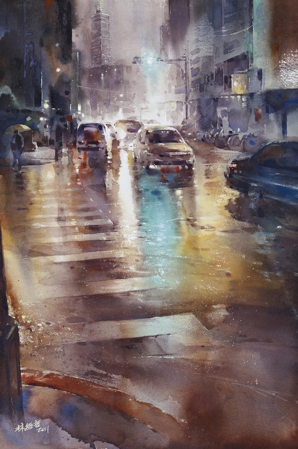 朦胧的城市雨景:台湾林经哲水彩画作品(2)