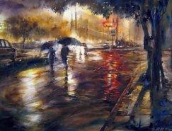 朦胧的城市雨景:台湾林经哲水彩画作品