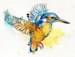 美国艺术家Abby Diamond动物水彩画作品