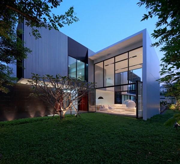 泰国曼谷l型现代别墅图片
