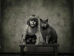 Andy Prokh黑白摄影:小女孩与猫咪