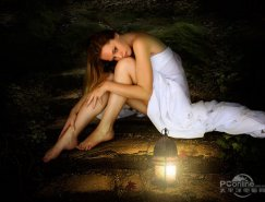 PS合成黑夜中提灯静坐的美女