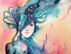 50个漂亮的水彩肖像插画欣赏