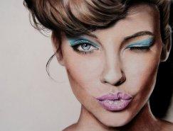 意大利艺术家Valentina Zou逼真的彩色肖像铅笔画
