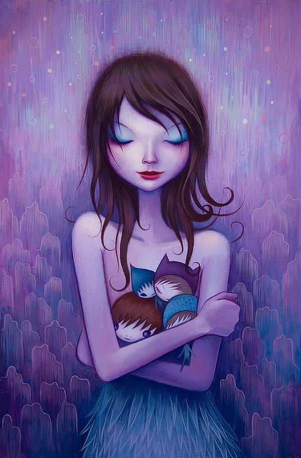 美国芝加哥艺术家Jeremiah Ketner,作品受到日本流行艺术、包装设计、杂志广告以及街头涂鸦的影响,画中的主人公都是一些介于可爱、暧昧与甜美之间的糖果女孩。 蓝色的基调,安静的气氛,似乎她所描绘的精灵般的女孩子们都生活在月光下,月牙般的光,闭着眼睛的女孩子们,慢慢开放的花,小小的精灵,他笔下甜美迷人的主角以及随处可见淘气的小精灵,塑造出一场甜蜜宁静的梦境。