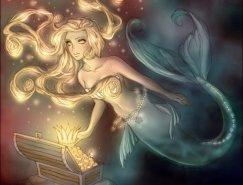 漂亮动人的美人鱼插画