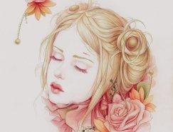 Jennifer Healy美丽的彩色铅笔肖像画