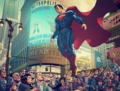 超级英雄人物插画: 超人 钢铁之躯