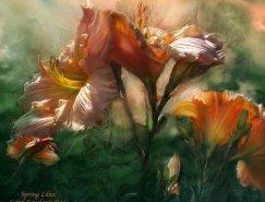 Carol Cavalaris漂亮的花卉绘画作品