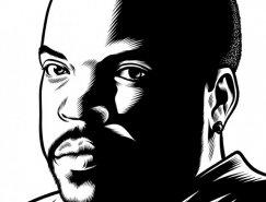Charles Burns黑白人物肖像插画