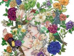 自然 动物 花卉和人: Fumi Nakamura插画作品欣赏