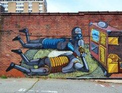 墻壁上的機器人:Pixel Pancho街頭藝術作品
