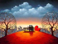 甜蜜的爱情:英国画家David Renshaw浪漫丙烯画