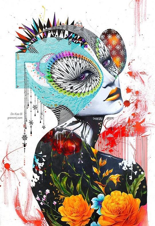 大胆的牛仔:韩国MinjaeLee人物外套设计插画色彩欣赏图片