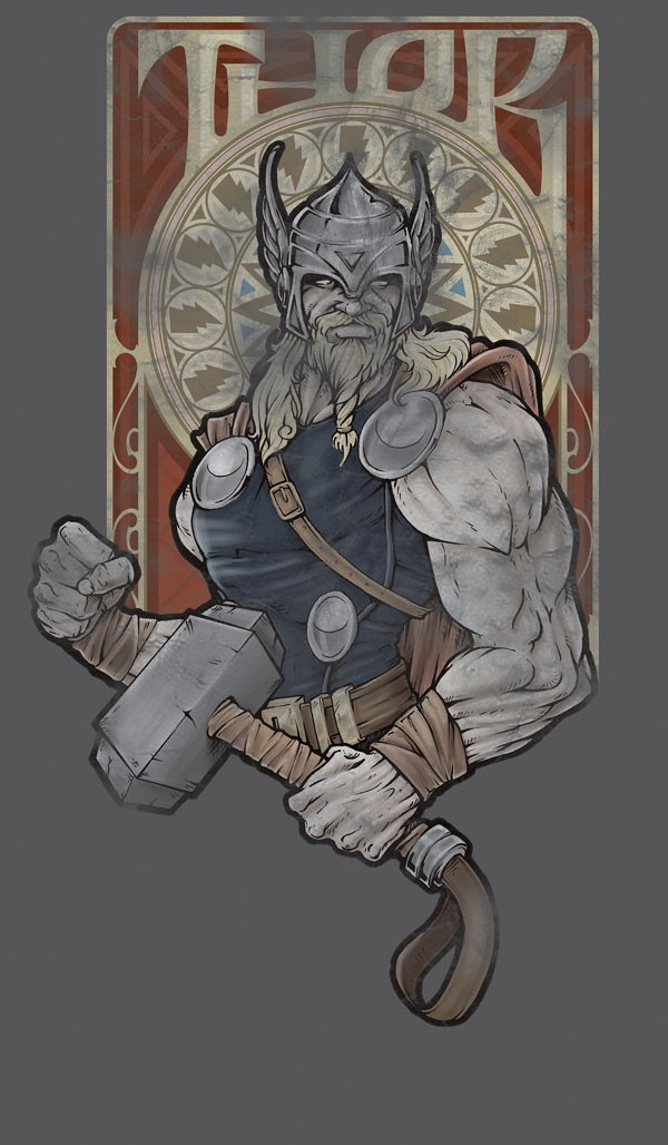 漫画英雄人物插画:雷神托尔Thor