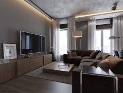 灰色基调的现代简约公寓设计