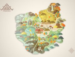 Vasupon Sanpanich城市插画:泰国⌒帕夭府Phayao