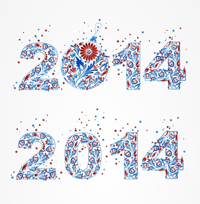 2014花纹字体矢量素材 - 设计之家