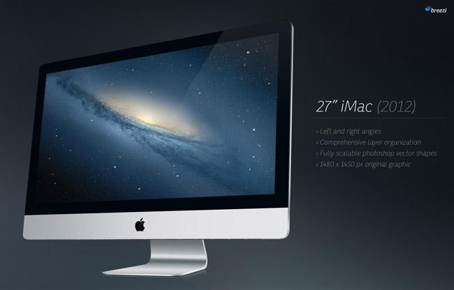 psd格式,苹果电脑, 27寸imac,左视角,右视角