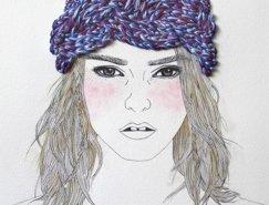 刺绣与铅笔画融合:Izziyana Suhaimi铅笔刺绣插画欣