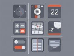 9款灰色调扁平化图标PSD素材